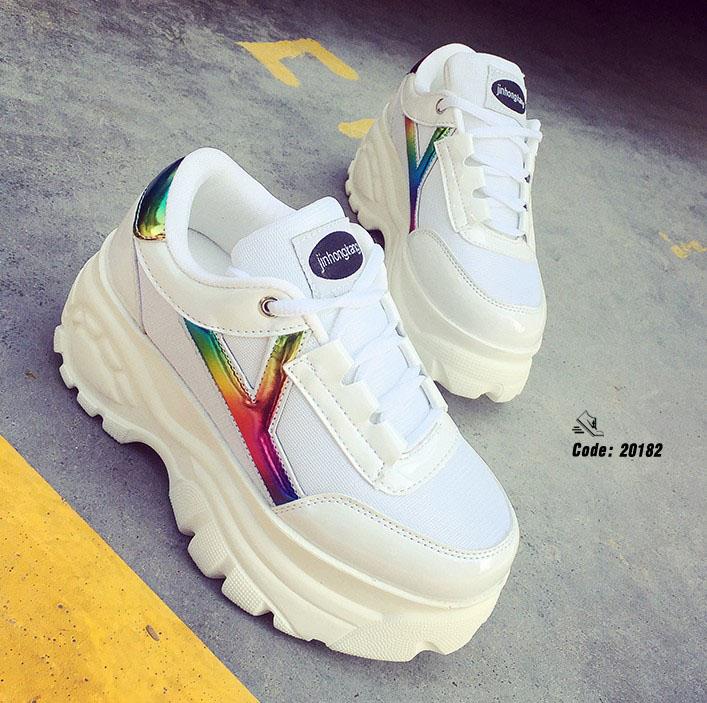 รองเท้าผ้าใบ PU Flashion-White 20182 [สีขาว]