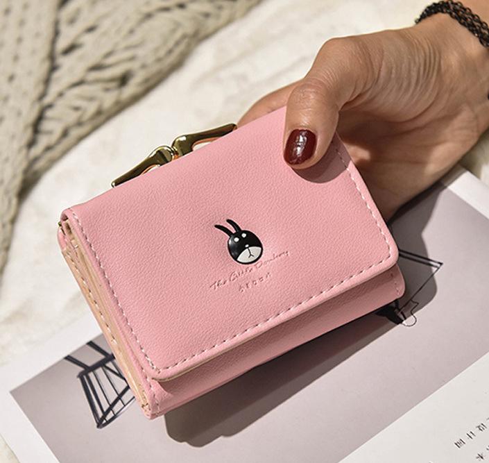 พร้อมส่ง กระเป๋าสตางค์ผู้หญิงใบสั้น กระเป๋าสตางค์นักเรียนแฟชั่นเกาหลี รหัส G-035 สีชมพู