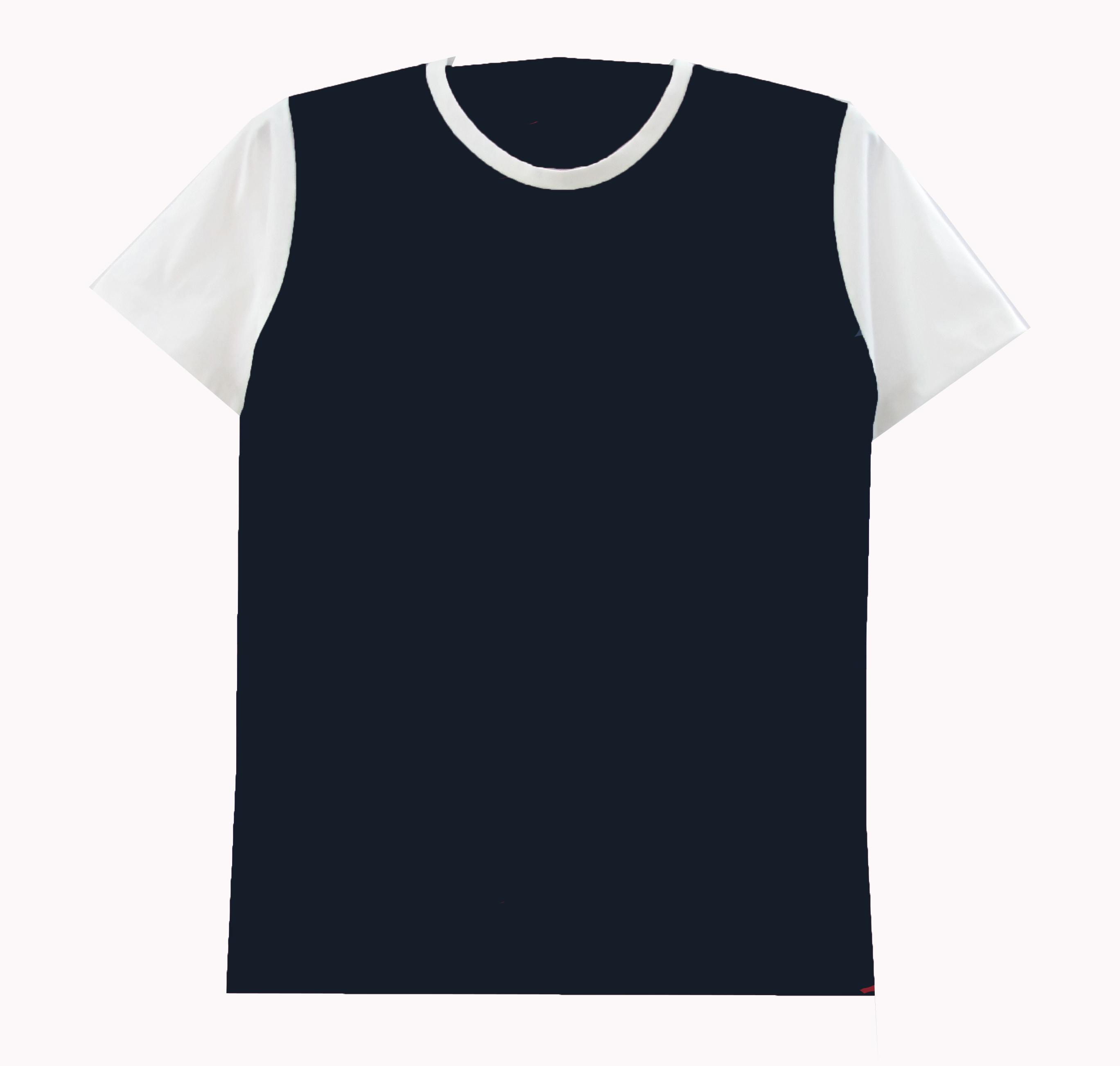 เสื้อตัดต่อตัวสีแขนขาว สีกรม