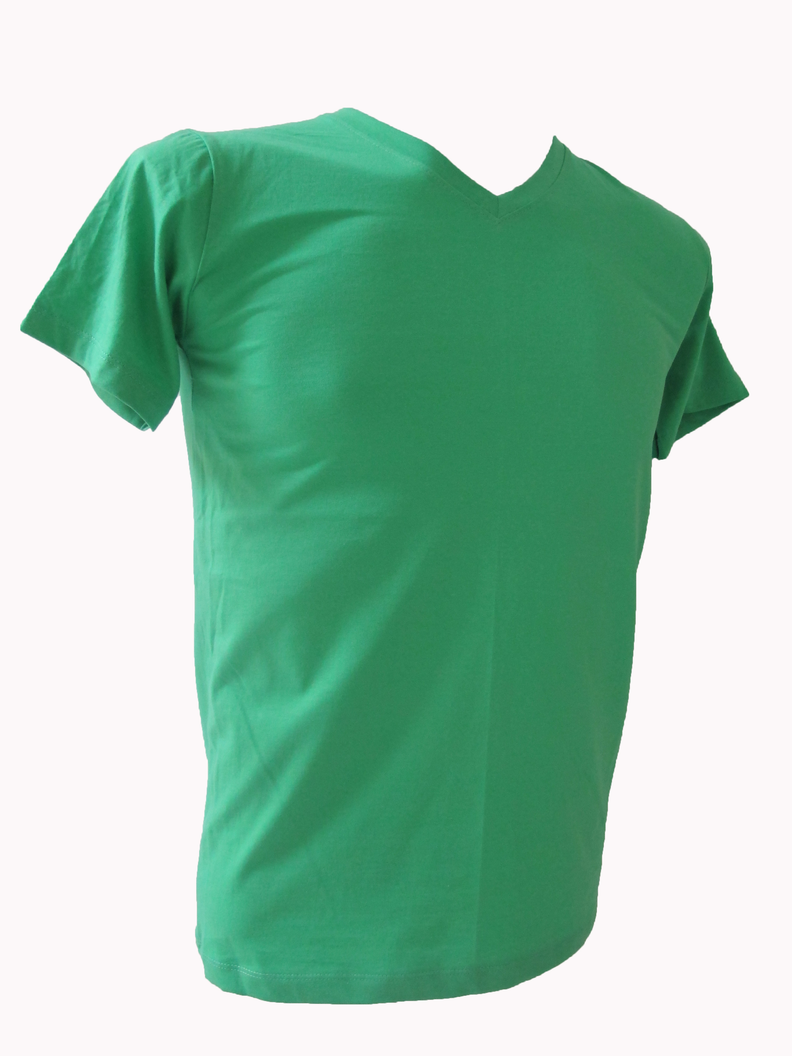 COTTON100% เบอร์32 เสื้อยืดแขนสั้น คอวี สีเขียวมิ้น