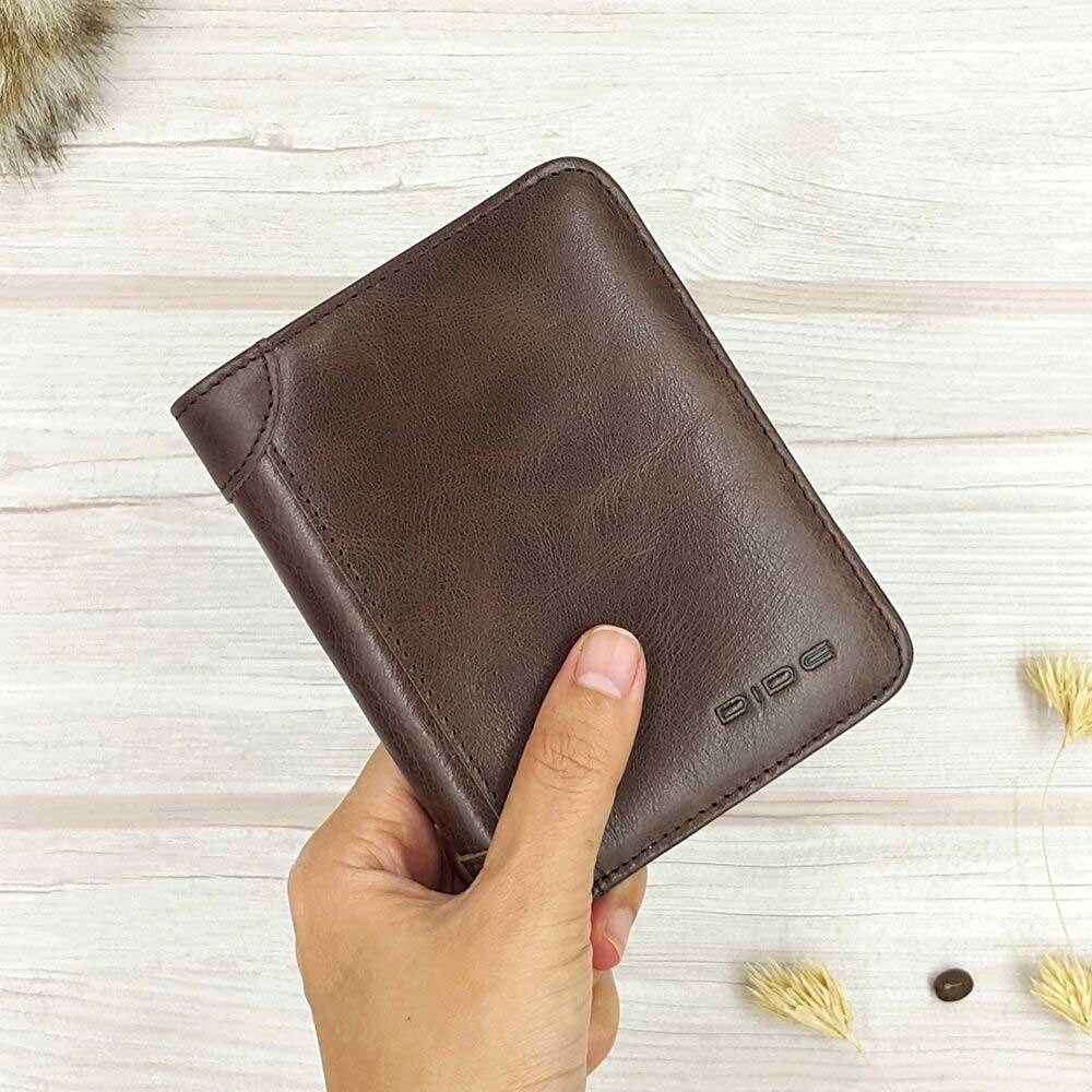 กระเป๋าสตางค์หนังแท้ ทรงตั้ง สีช็อคโกแลตเข้ม บางมาก หนังนุ่ม DIDC