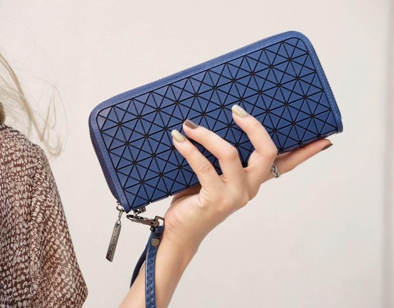 กระเป๋าตัง กระเป๋าเงินผู้หญิง BaoBaoบล็อกเล็ก โลโกสี่ด้าน [สีกรม ]