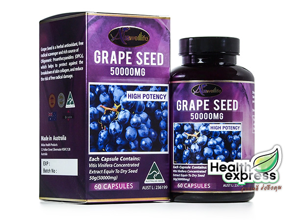 Auswelllife Grape Seed 50000 mg. ออสเวลไลฟ์ เกรป ซีด บรรจุ 60 แคปซูล