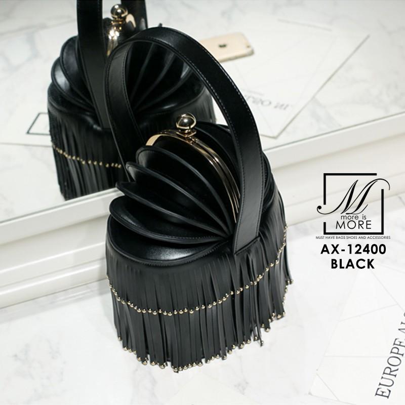 กระเป๋าสะพายกระเป๋าถือ แฟชั่นนำเข้าสไตล์แบรนด์ดังงานสุดพรีเมี่ยม AX-12400-BLK (สีดำ)
