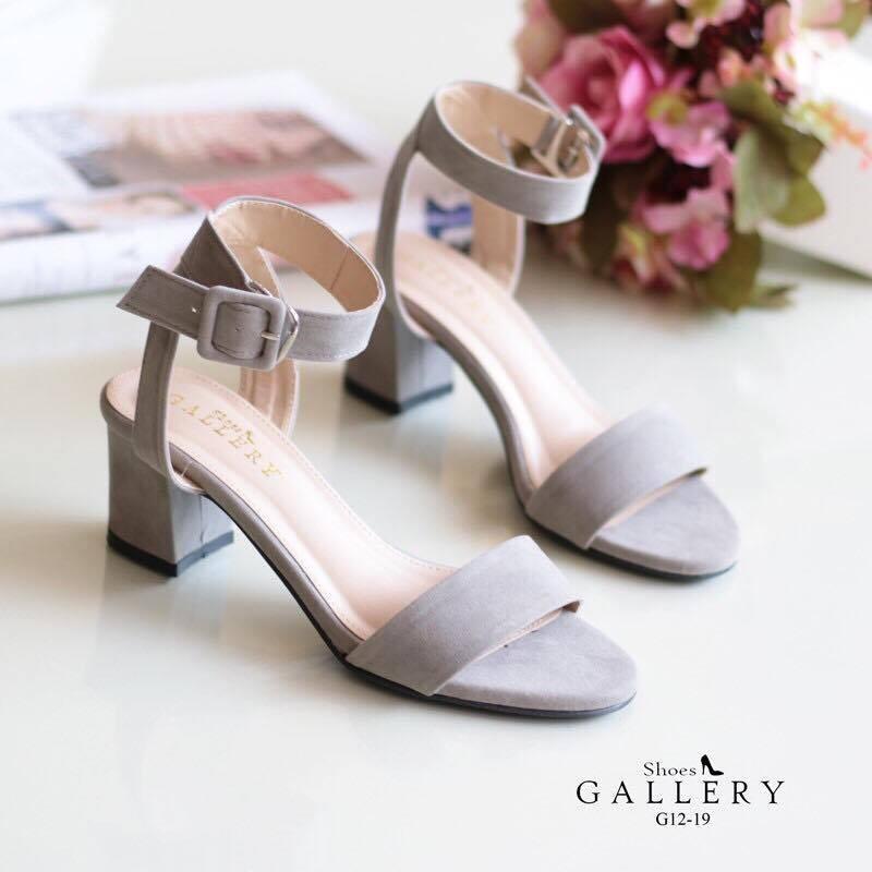 พร้อมส่ง รองเท้าส้นตัน สไตล์รัดส้น G12-19B3-GRY [สีเทา]