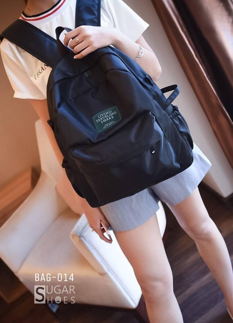 พร้อมส่ง กระเป๋าเป้ผู้หญิงผ้าไนล่อนสีสดใส-BAG-014 [สีดำ]