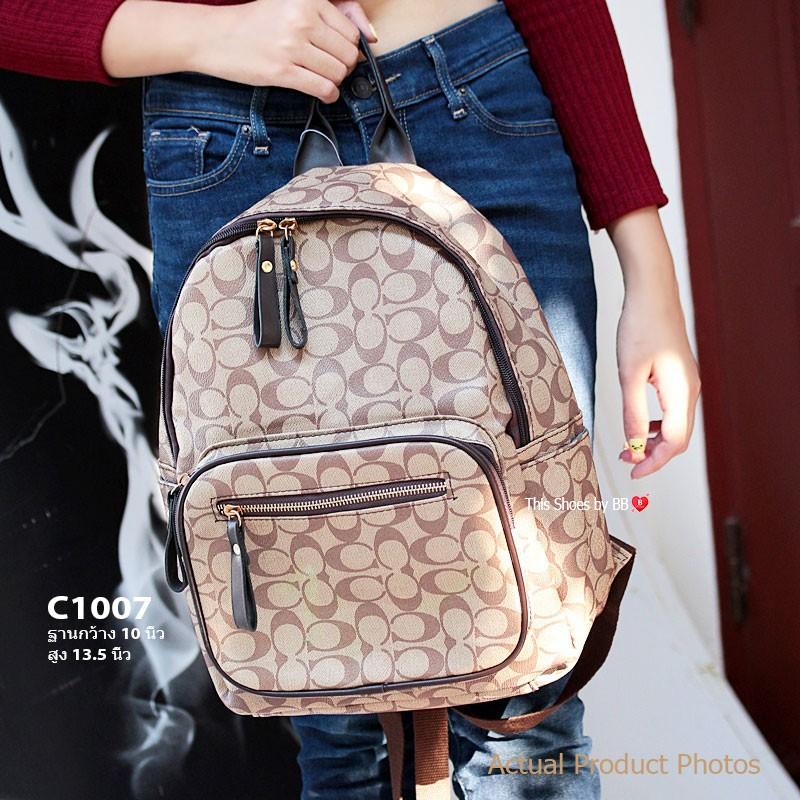 กระเป๋าเป้ผู้หญิง กระเป๋าสะพายหลังแฟชั่น สไตล์แบรนด์ Coach หนังโลโก้ลาย C [สีน้ำตาล ]