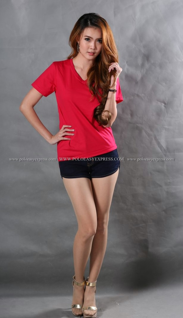 M เสื้อยืด สีชมพูบานเย็น คอวี แขนสั้น Size M สำเนา