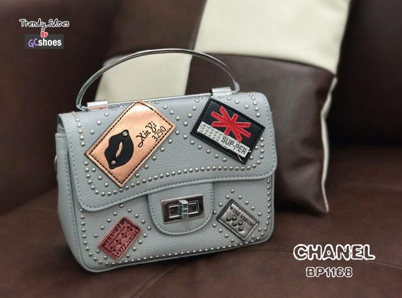 กระเป๋าสะพายแฟชั่น กระเป๋าสะพายข้างผู้หญิง แต่งหมุด สไตล์ D.I.Y [สีเทา ]