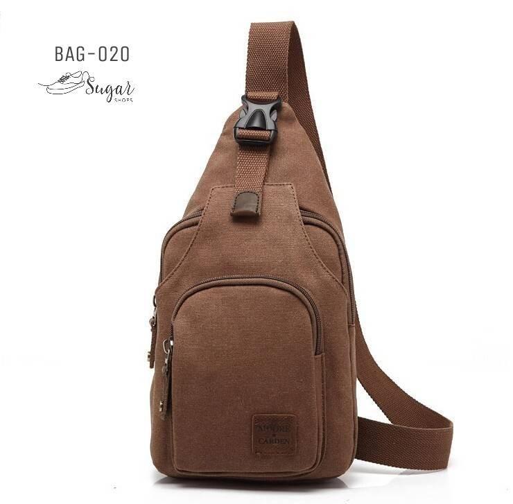 พร้อมส่ง กระเป๋าคาดอกผู้ชายผ้าแคนวาส-BAG-020 [สีน้ำตาล]