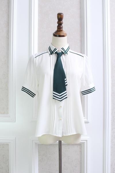 Pre-Order เสื้อแขนสั้นคอปกผูกไทด์ยาว แต่งลายคาด มีไทด์3สี