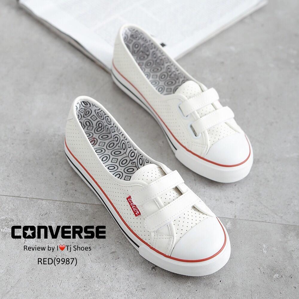 รองเท้าผ้าใบ สไตล์CONVERSE (สีแดง )