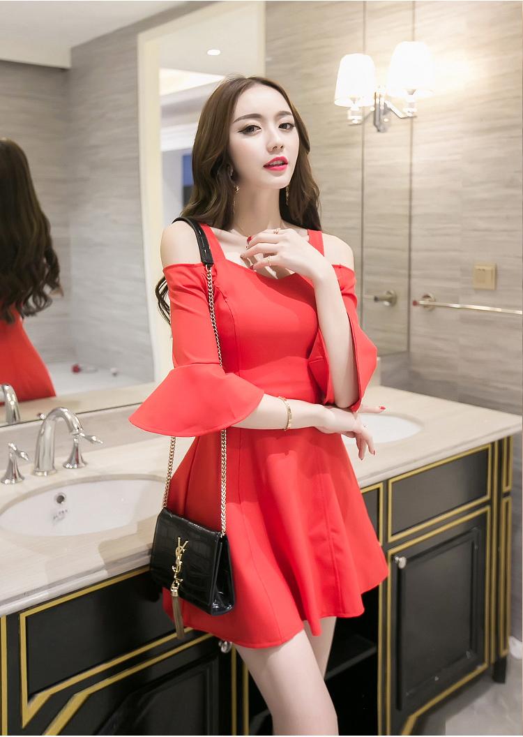 ชุดเดรสสั้นแฟชั่นเกาหลีสีแดง