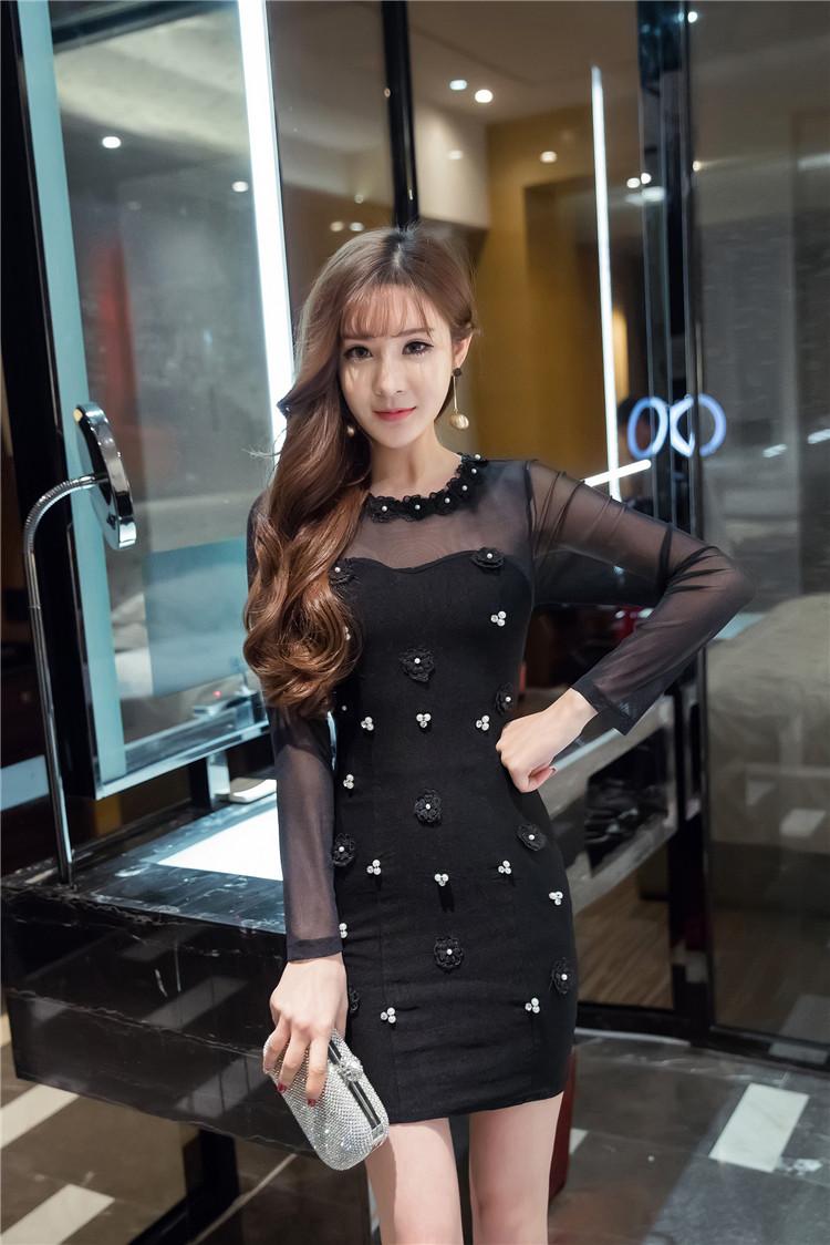 ชุดเดรสแฟชั่นเกาหลีสีดำแขนยาวทรงตรงเข้ารูปผ้าสกินนี่ ช่วงบนและแขนเป็นผ้าซีทรู