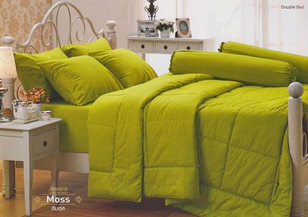 ชุดเครื่องนอน JESSICA สีพื้น Cotton100% ซิลค์ซายน์ สีมอส Moss