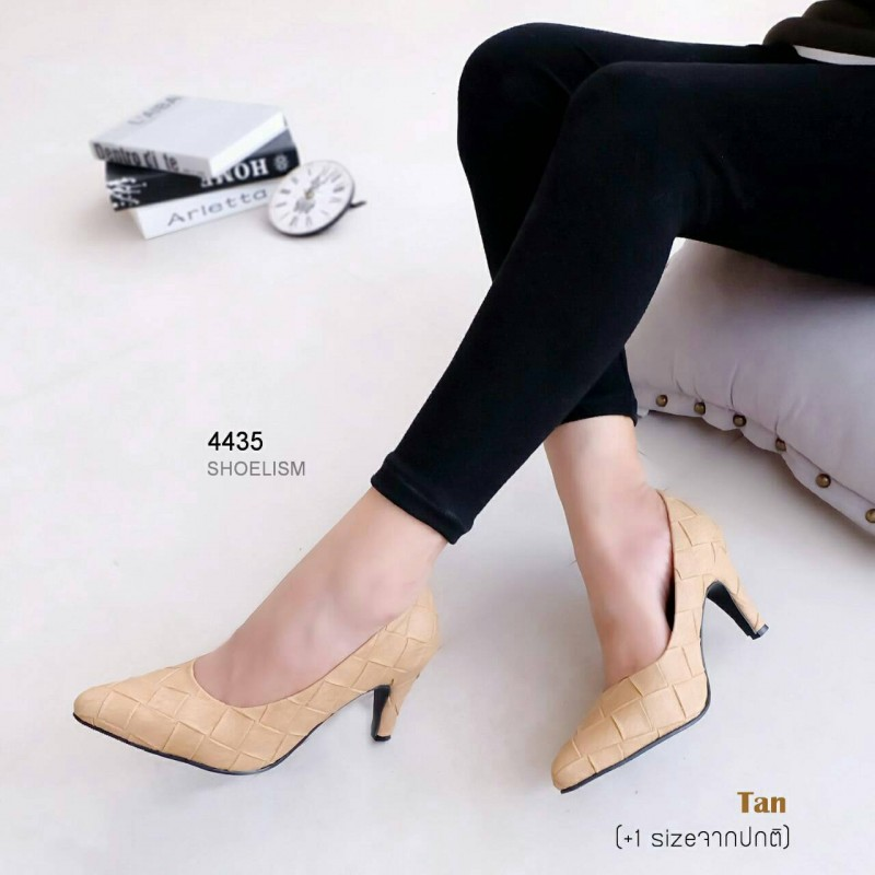 รองเท้าคัทชู ส้นสูง หนังตาราง สไตล์แมกซี่ (สีแทน )