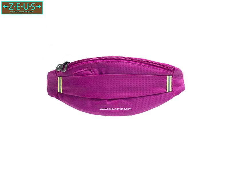 กระเป๋าคาดเอววิ่ง ผ้าร่มกันน้ำ สีชมพู ช่องใส่ของ 3 ซิป Size M