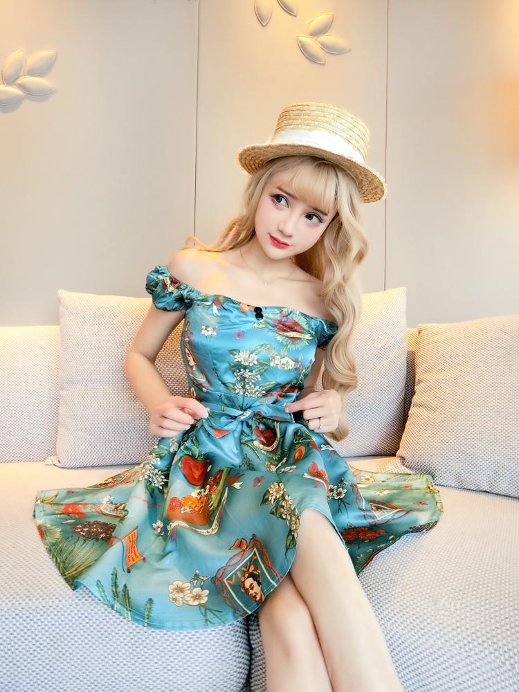 ชุดเดรสแฟชั่นเกาหลีสีฟ้าราคาถูก