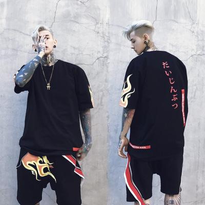 เสื้อยืดแขนสั้นสีดำ Justin Bieber พิมพ์ลายเปลวไฟ