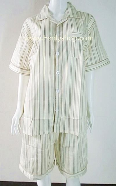 ชุดนอน(ช)กางเกงขาสั้น ผ้า Cotton เกรด เอ แบบลายริ้วสีเหลือง คอปก ฟรีไซส์ (F)