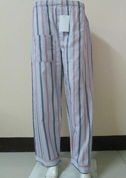 กางเกงนอนขายาว(ชาย) ผ้าคัตตอน เกรด เอ แบบลาย โทนสีเทาชมพู ไซส์ L