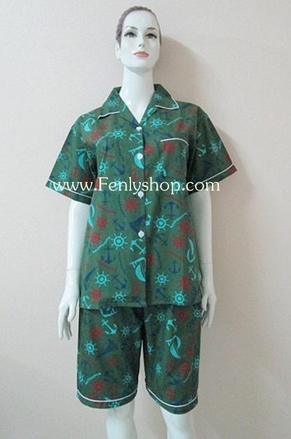 ชุดนอน(ญ)ขาสามส่วน ผ้า Cotton สีเขียวเข้มลายสมอเรือ คอปก ฟรีไซส์ (มี 3 สี เขียวเข้ม,น้ำเงิน,น้ำตาลแดง)