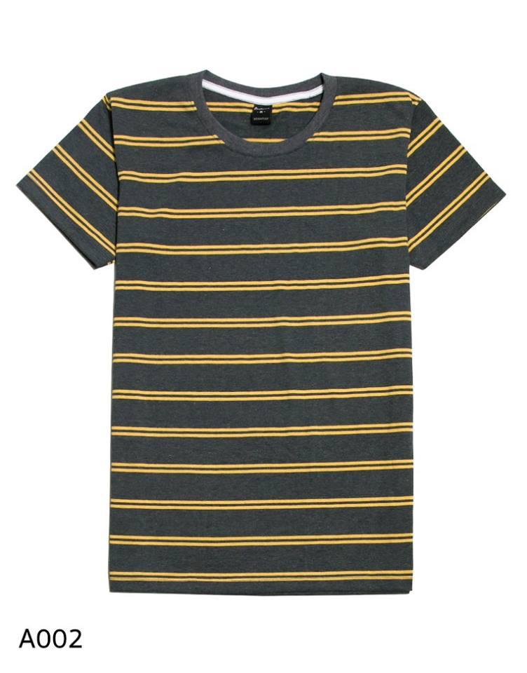 เสื้อยืดคอกลมลายทาง A002 (เส้นคู่ สีเทาเหลือง)