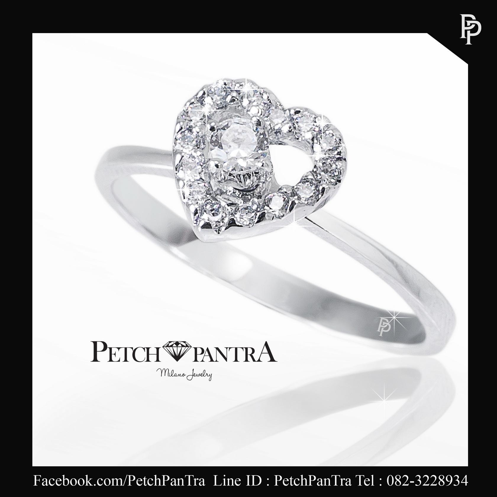 แหวนเพชรCZ แหวนเพชรรัสเซีย รูปหัวใจ
