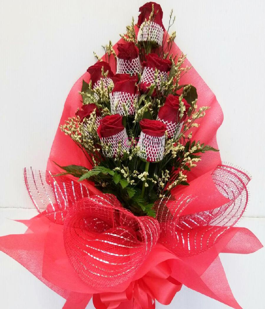 ช่อดอกกุหลาบแดง 9 ดอก