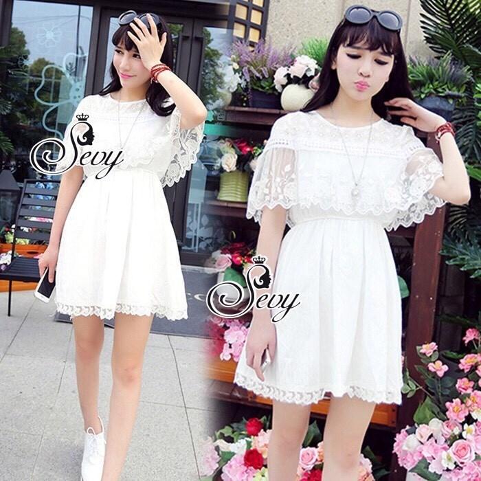 Princess Sweet Lace Crochet Mini Dress