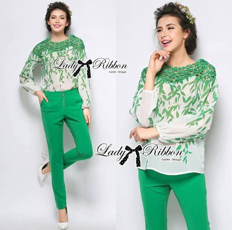 Lady Kristin Insert Lace Printed Chiffon Blouse with Skinny Trousers Set