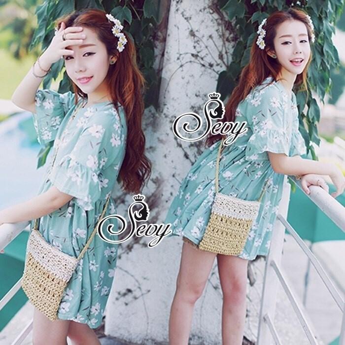 Flora Lotus Sleeve Mini Dress