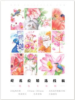 กระดาษดราฟร่างเบา แบบฝึกหัดภาพระบายสี ภาพดอกไม้กับสัตว์