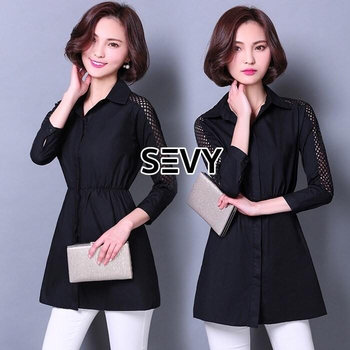 Shirt Dress สีดำคอปกแขนยาว ยางยืดรอบเอว กระดุมหน้าทั้งตัว ช่วงแขนเย็บต่อชีทรูด้านบนเป็นตาข่าย