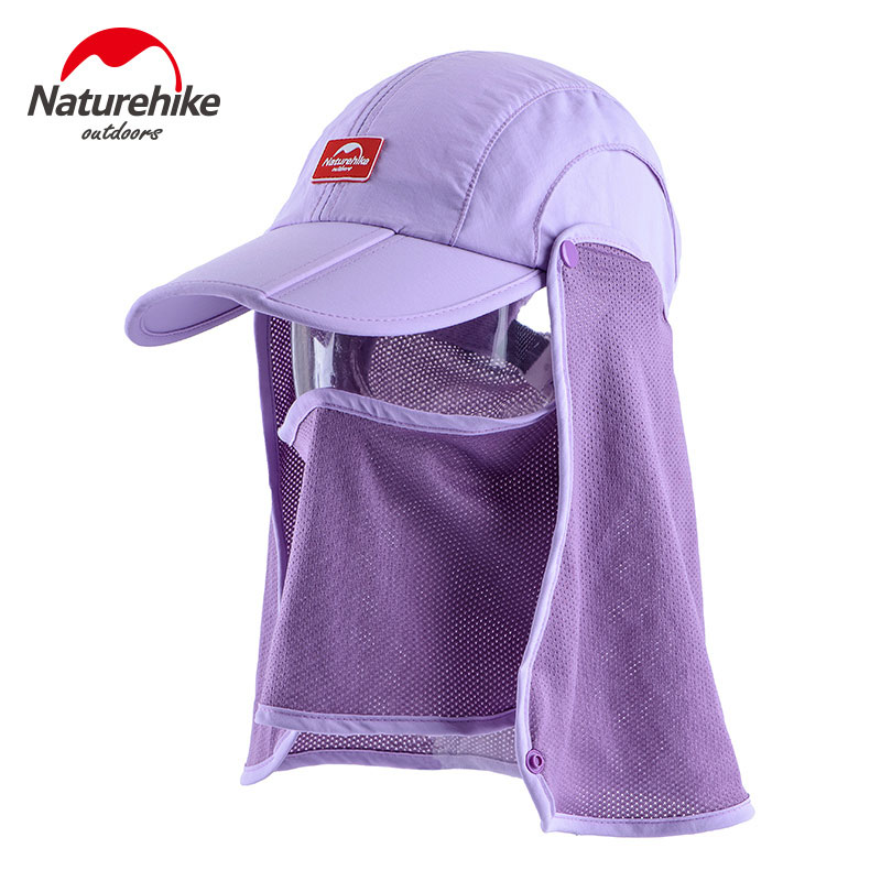 Nature Hike | Sun Shading Quick Dry Folding Cap with protective face mask (Purple)