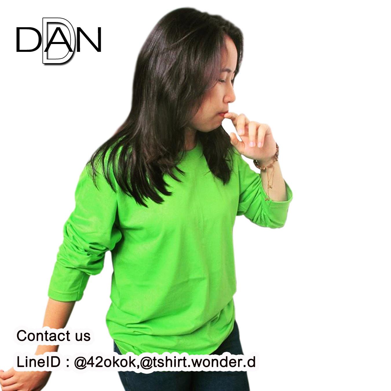 เสื้อยืดคอกลมแขนยาว สีเขียวตอง