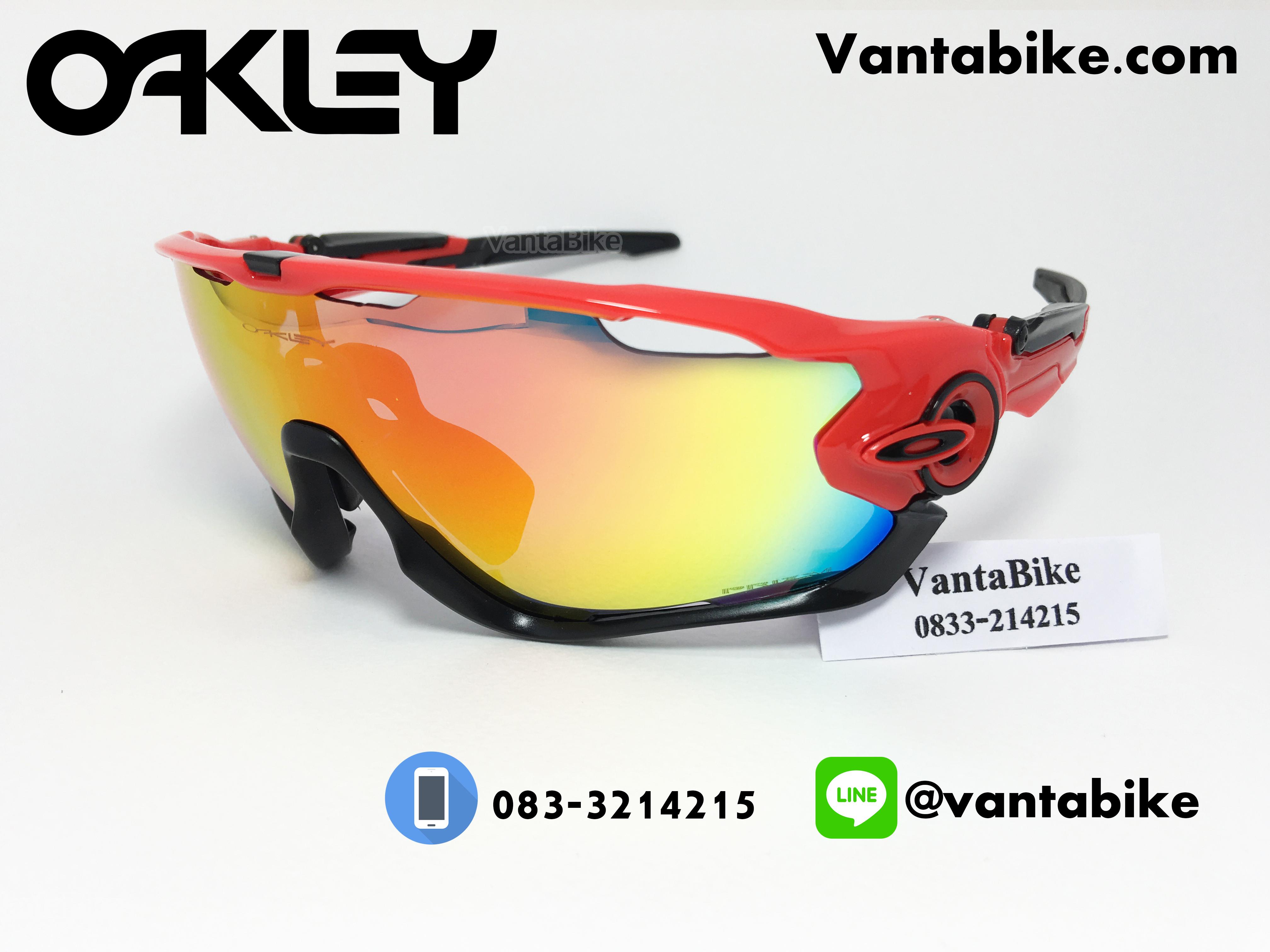 แว่นตาปั่นจักรยาน Oakley Jawbreaker [สีแดง-ดำ]