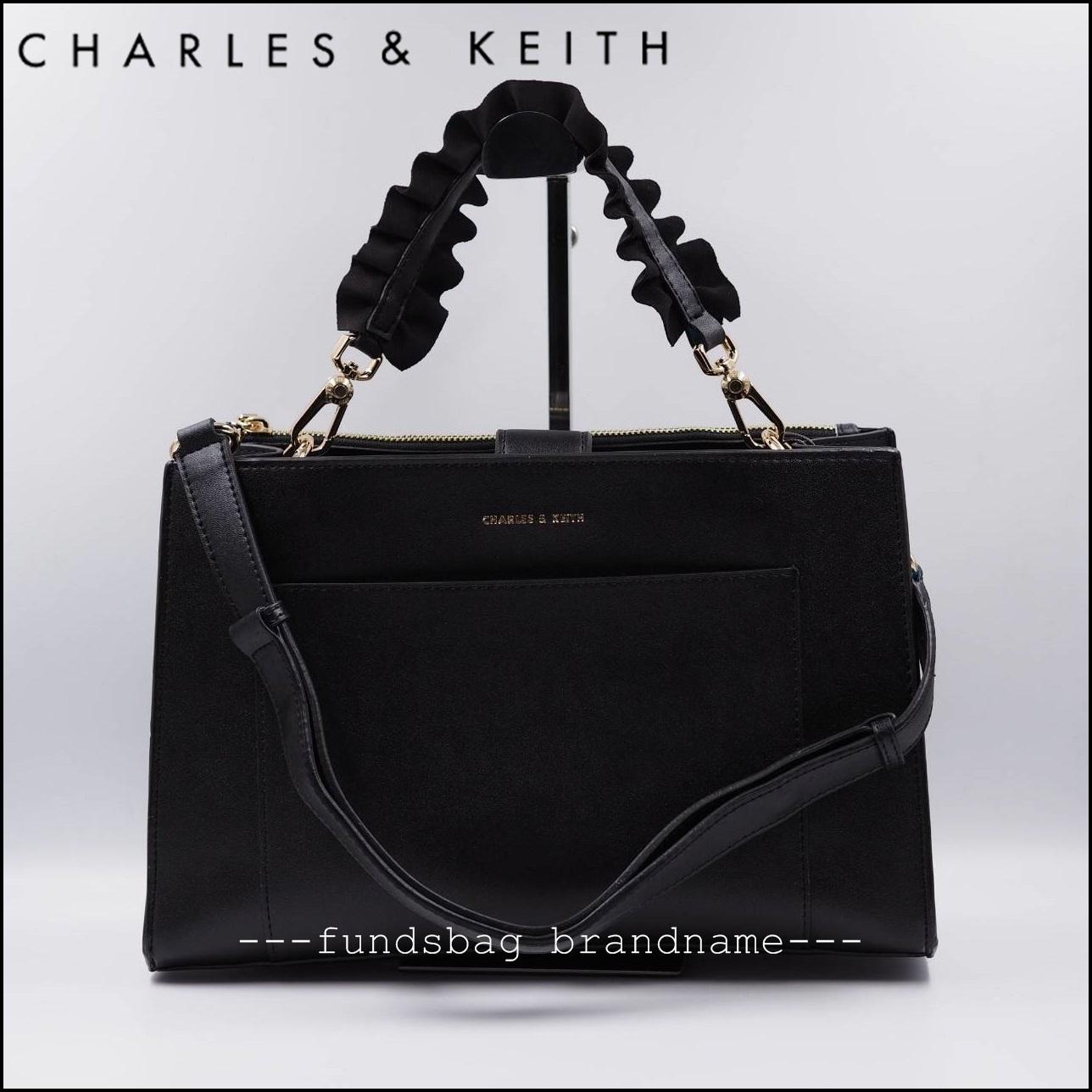 ใหม่ล่าสุด CHARLES&KEITH RUFFLE HANDLE BAG 2018 (CK2-50270097)-สีดำ-