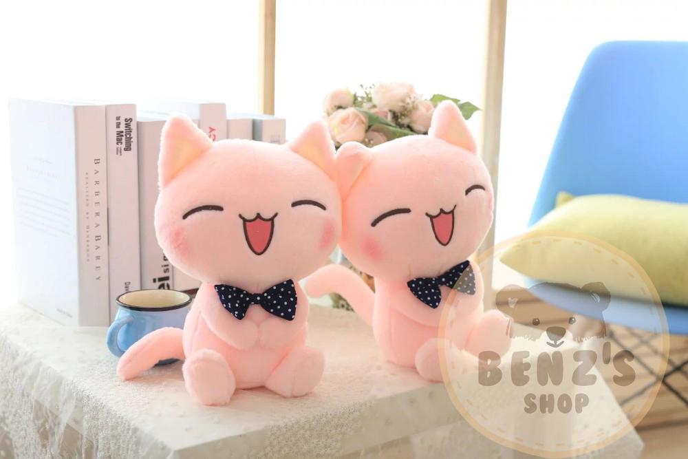 ตุ๊กตาแมวสีชมพู ขนนุ่ม กอดสบาย ขนาดวัดจากฐาน-ปลายหู30cm