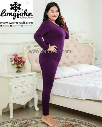 ลองจอนหญิง บิ๊กไซด์ ลองจอนคนอ้วน บุเยื่อไผ่เอ็กซ์ตราพลัส สีม่วงเข้ม
