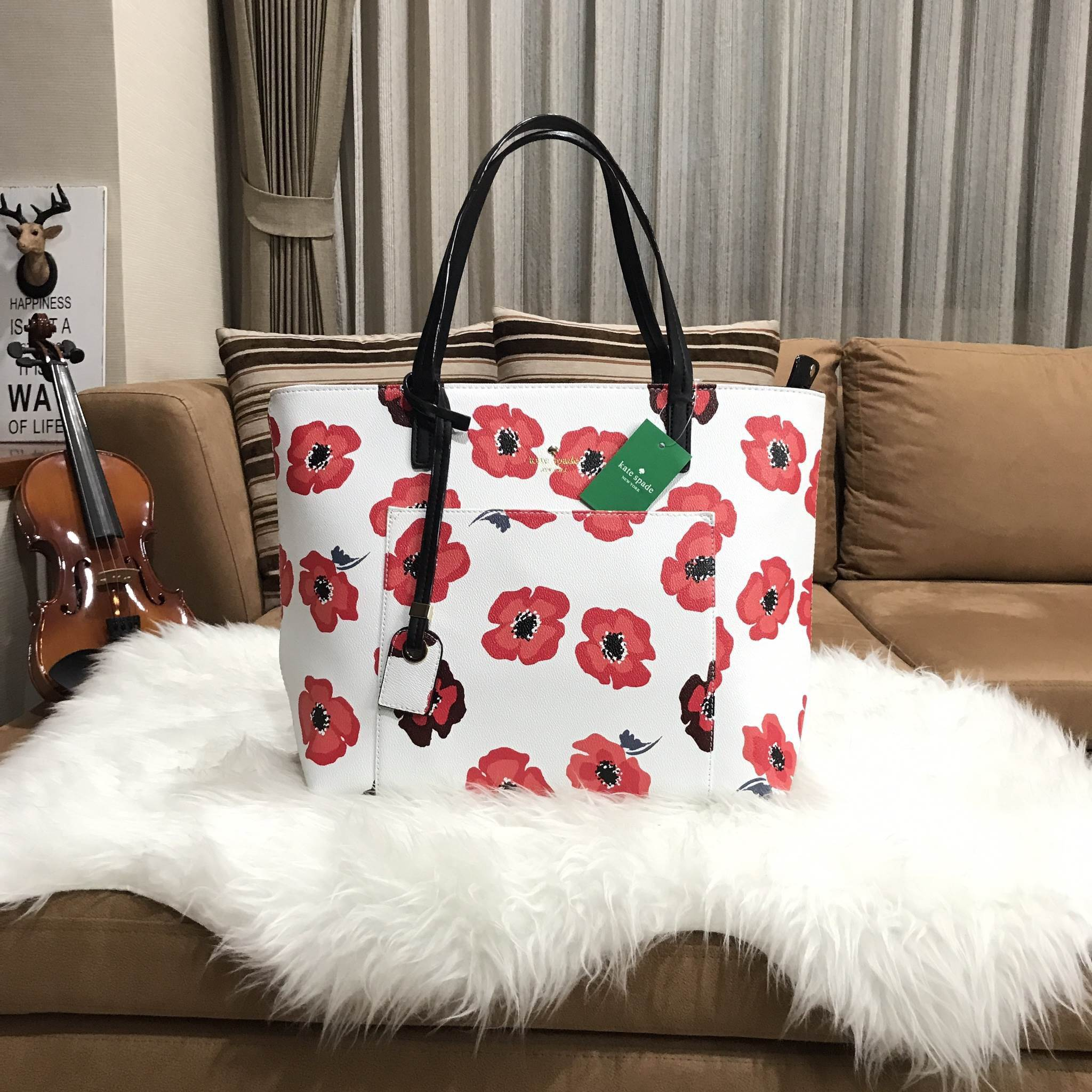 KATE SPADE New York Hyde Lane Poppies Riley Rose Tote Bag *ขาว