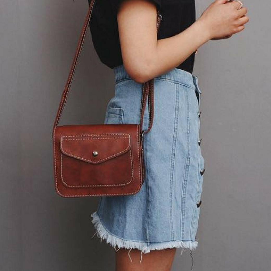กระเป๋าสะพายข้าง กระเป๋าเครื่องสำอาง ผลิตจากหนังแท้ เล็กขนาดพกพา สำหรับผู้หญิง