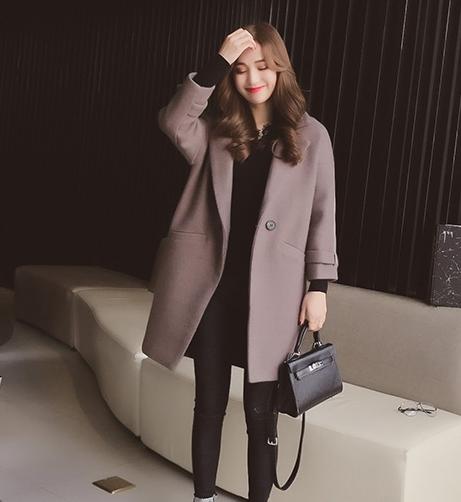 korean style Woolen over coat (สีเทา)