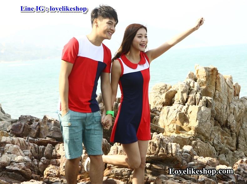 เสื้อคู่รัก ชายเสื้อยืดคอกลม + หญิงเดรสคอปกแขนกุด แต่งสีแดงดำขาว +พร้อมส่ง+