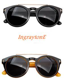 สีดำ น้ำตาล!!กรอบแว่นตากันแดดกลม แฟชั่น บาร์ เรโทร วินเทจ tomf sun ( สี ดำเงา น้ำตาล)