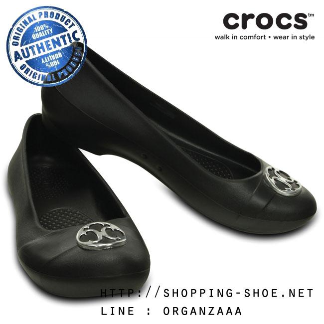 W7 (24 cm.) : Crocs Gianna Disc Flat - Black / Silver ของแท้ Outlet ไทยและอเมริกา