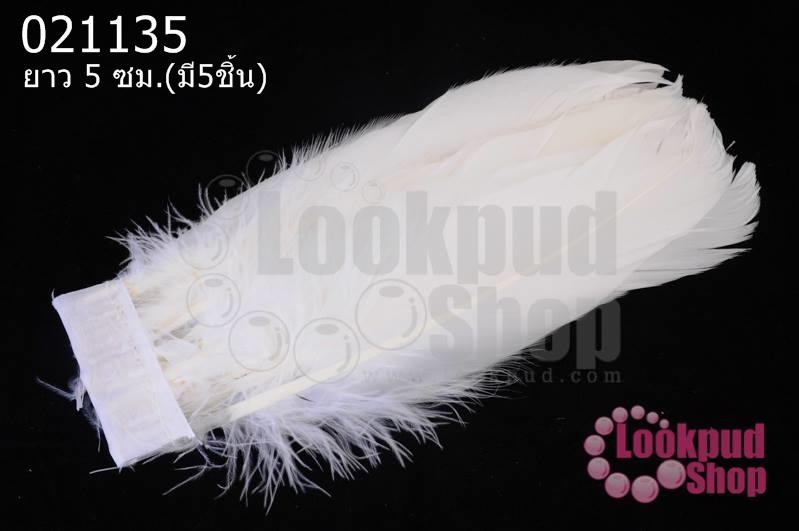 ขนนกมีริบบิ้น สีขาว ยาว 5 ซม.(มี5ชิ้น)