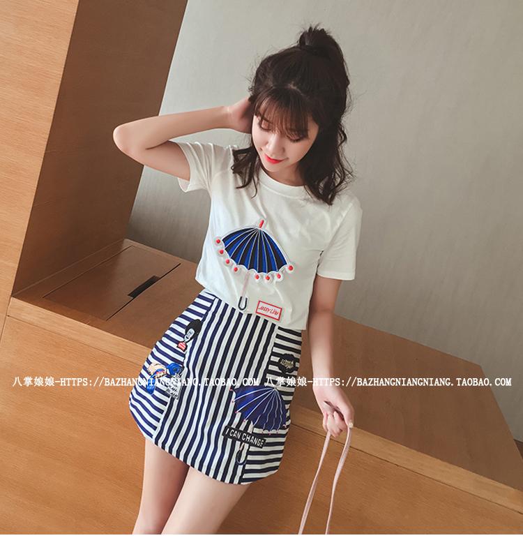 ชุดแฟชั่นเกาหลี เสื้อ + กระโปรง เย็บแต่งลายด้านหน้าตามรูปน่ารัก ๆ