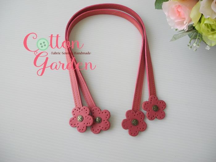 สายสะพายไหล่ หัวดอกไม้ สีชมพู ทำจากหนังแท้ ขนาด 60 ซม
