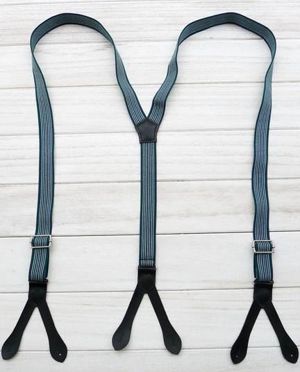 สายรัดกางเกงเอี๊ยม หูหนังกระดุม สายยืดหยุ่น กว้าง 2.5cm แบบ Y สีฟ้าลายทาง
